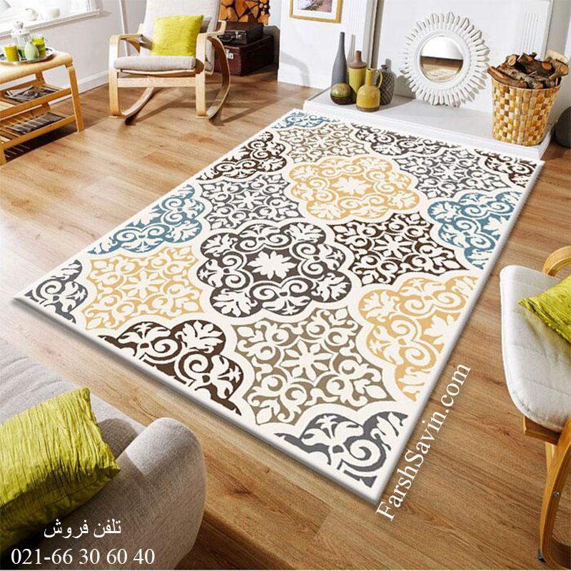فرش ساوین 4073 کرم فرش آشپزخانه