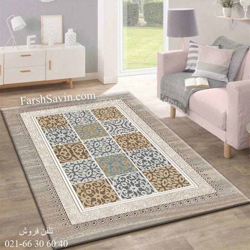 فرش ساوین آنتیک شکلاتی فرش خوش نقشه