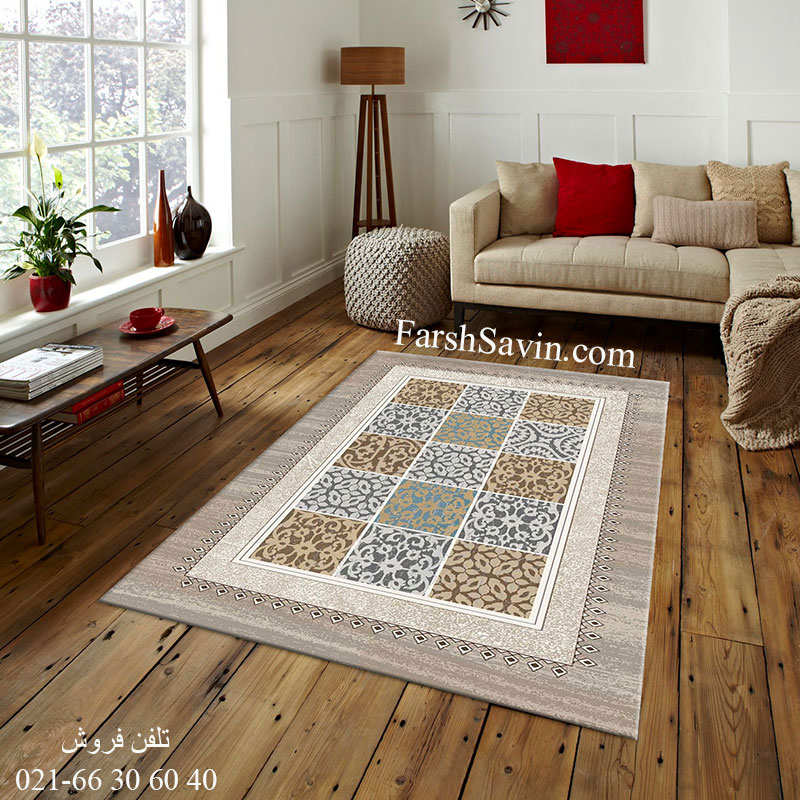 فرش ساوین آنتیک شکلاتی فرش خاص