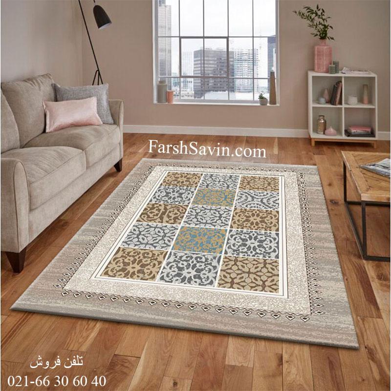 فرش ساوین آنتیک شکلاتی فرش باکیفیت