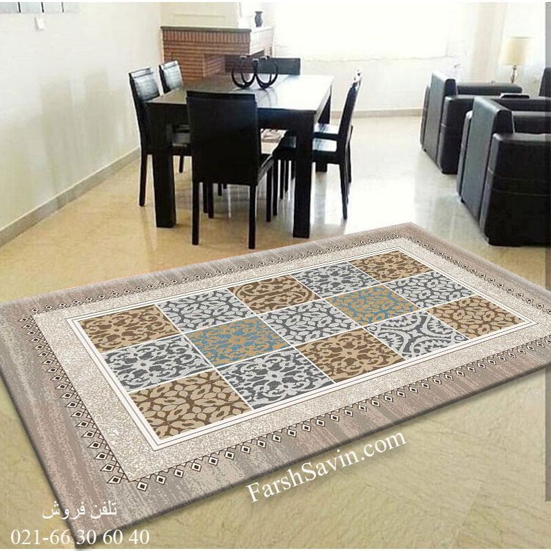 فرش ساوین آنتیک شکلاتی فرش اتاق خواب