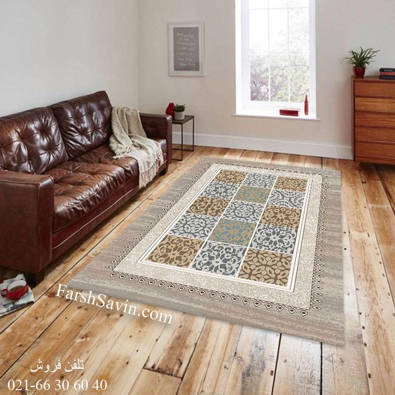 فرش ساوین آنتیک شکلاتی فرش آشپزخانه