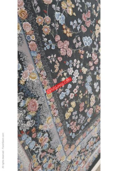 فرش ساوین گل آرا دودی پذیرایی