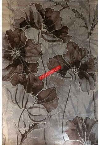 فرش ساوین طرح گلبرگ زمینه نقره ای شکلاتی فانتزی