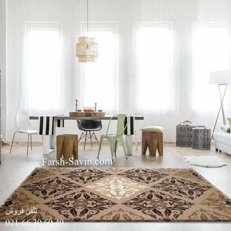فرش ساوین کرانه شکلاتی فرش مدرن