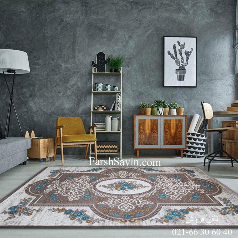 فرش ساوین 1500 آبی مدرن و فانتزی