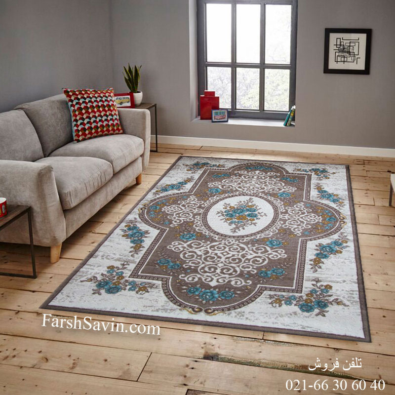 فرش ساوین 1500 آبی فرش باکیفیت