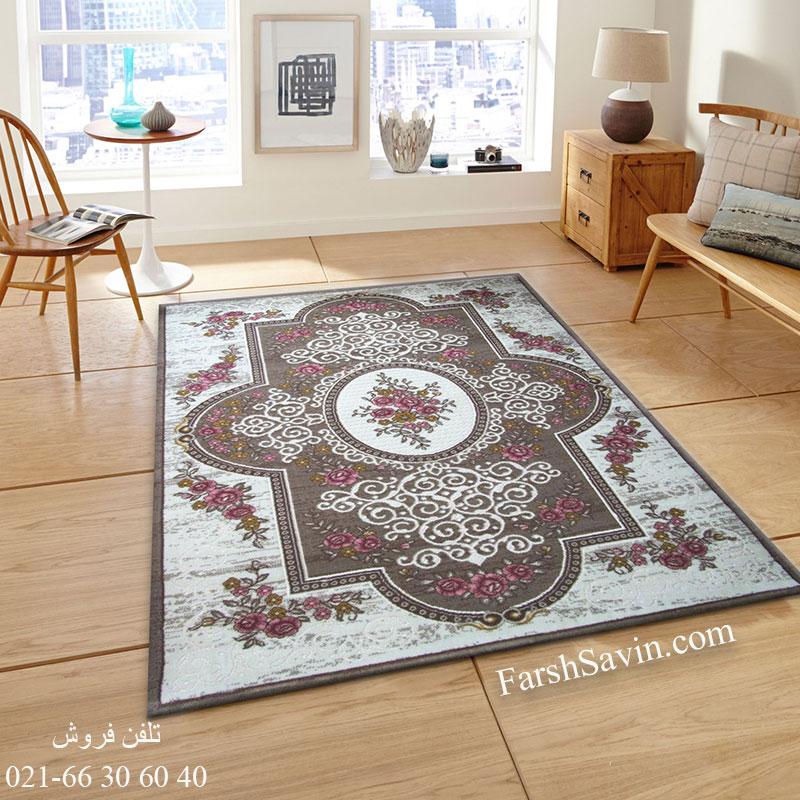 فرش ساوین 1500 صورتی فرش با کیفیت