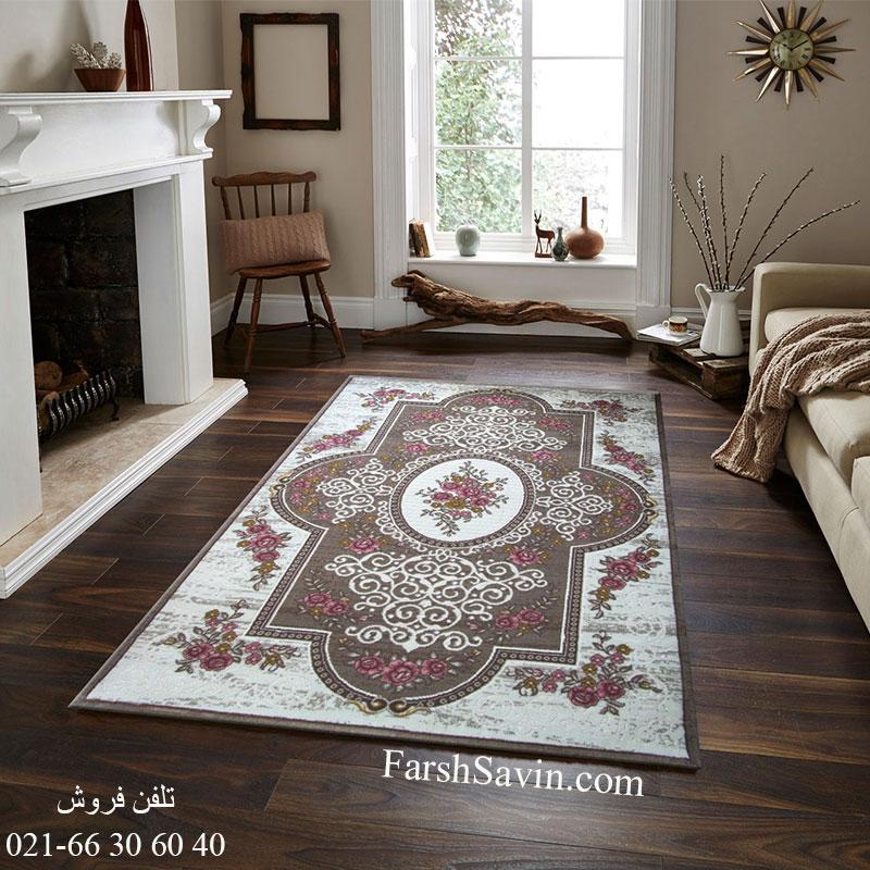 فرش ساوین 1500 صورتی فرش زیبا