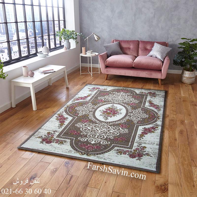 فرش ساوین 1500 صورتی فرش خاص