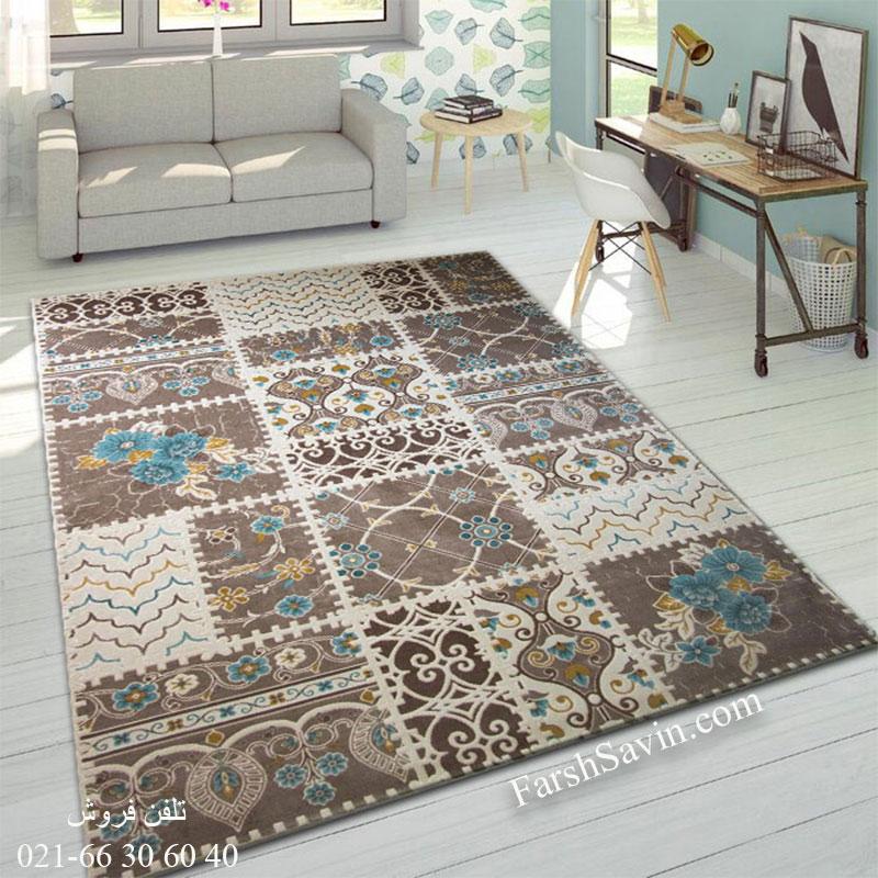 فرش ساوین 1501 آبی فرش مناسب اتاق خواب