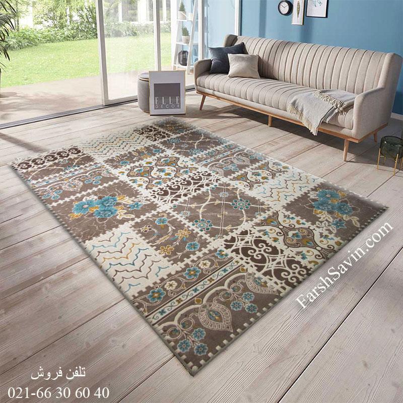 فرش ساوین 1501 آبی فرش پرفروش