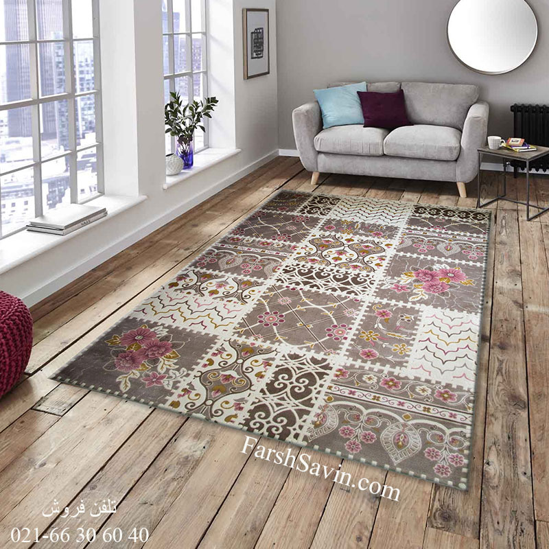 فرش ساوین 1501 صورتی فرش مدرن