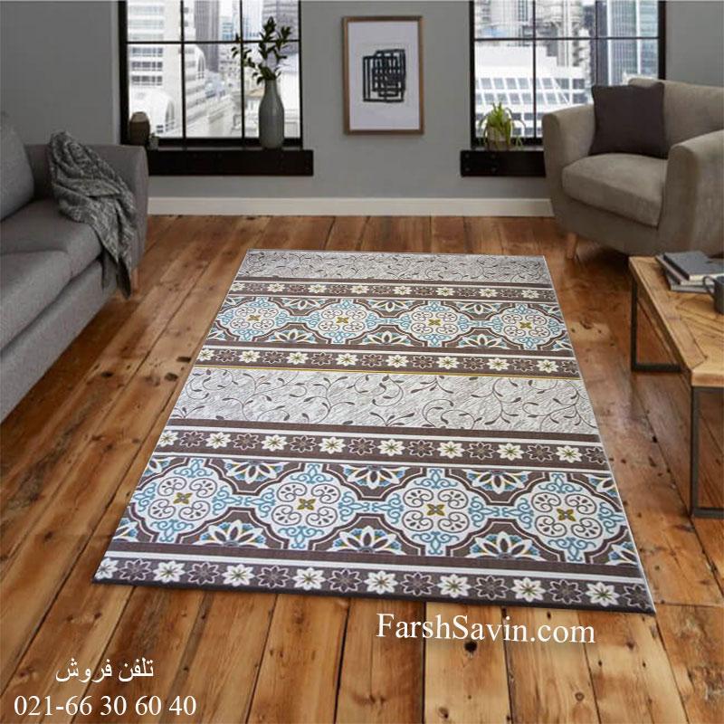 فرش ساوین 1502 آبی فرش پرفروش