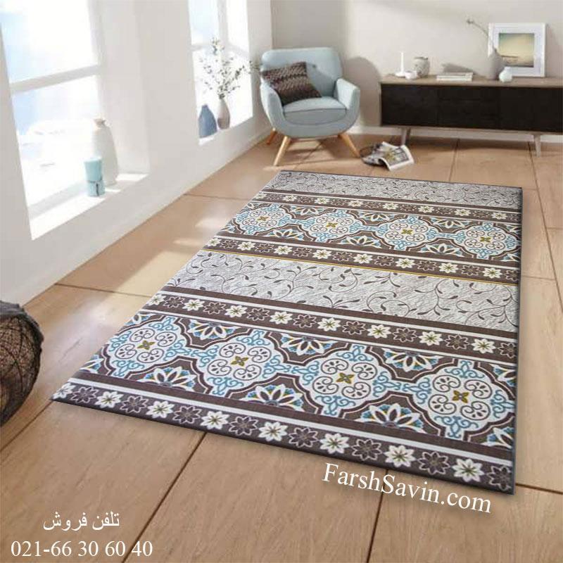 فرش ساوین 1502 آبی فرش با کیفیت