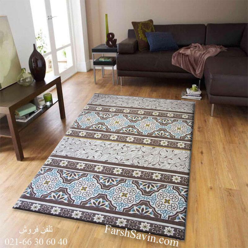 فرش ساوین 1502 آبی فرش ارزان