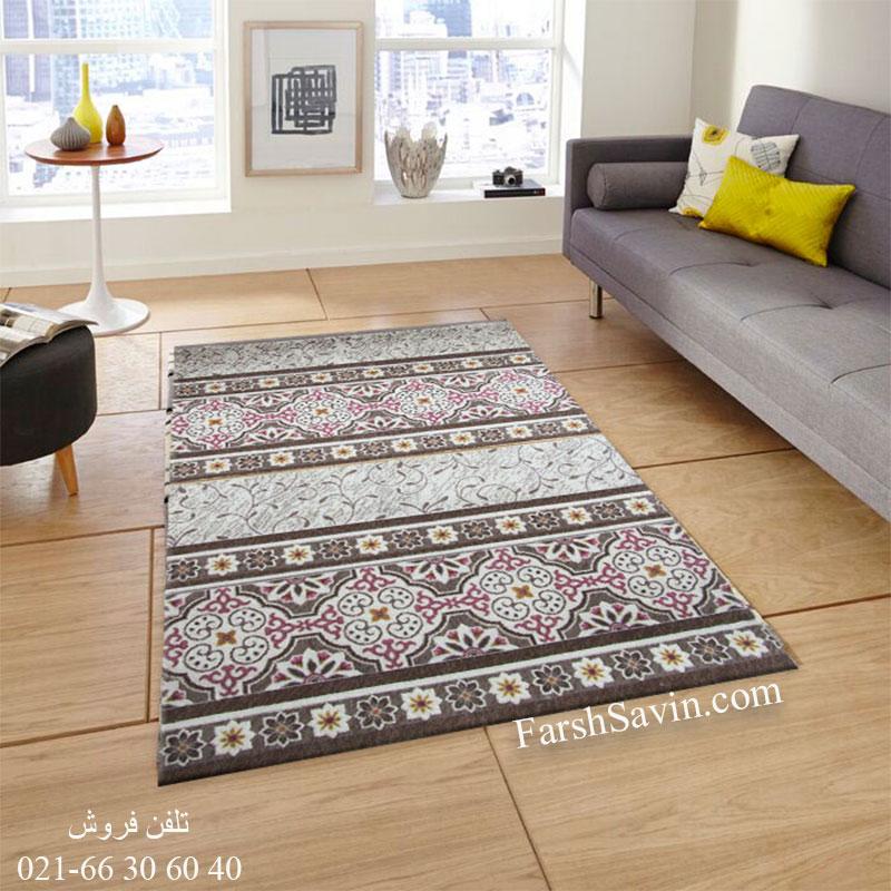 فرش ساوین 1502 صورتی فرش شیک