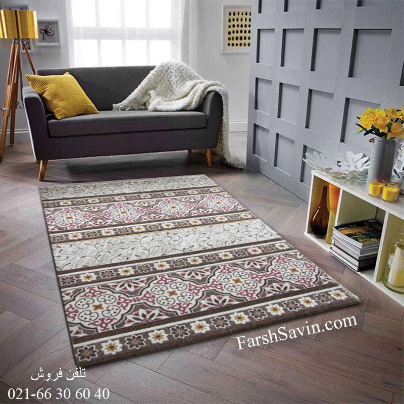 فرش ساوین 1502 صورتی فرش فانتزی