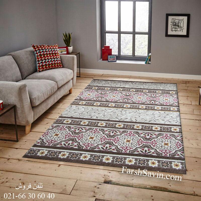 فرش ساوین 1502 صورتی فرش زیبا