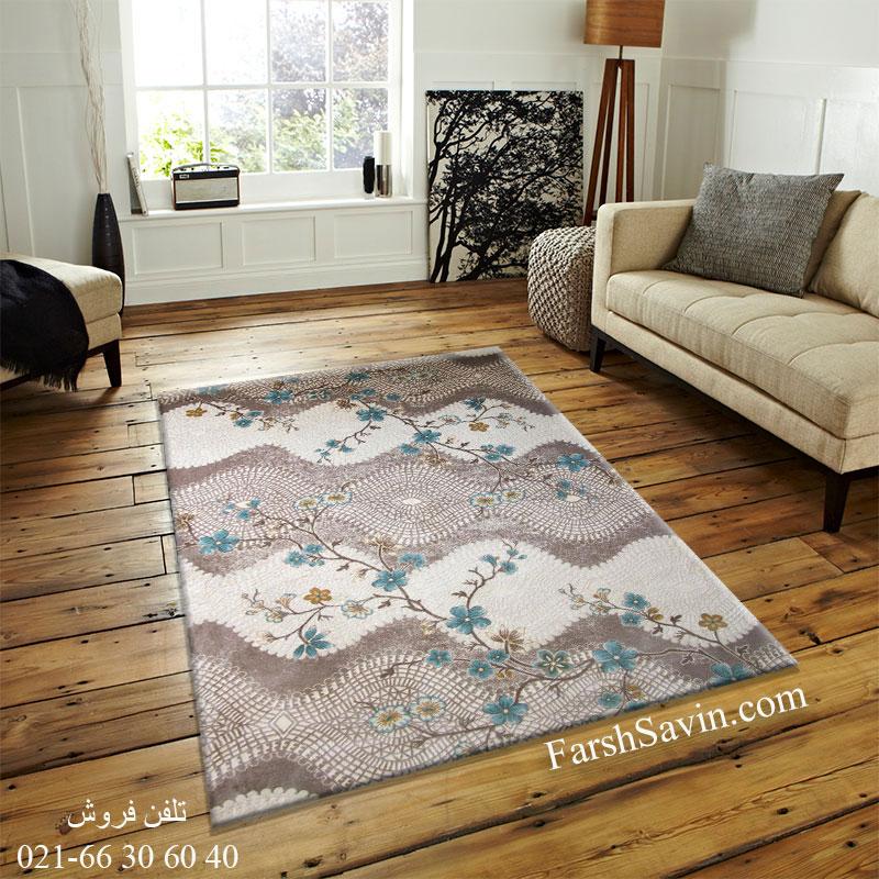 فرش ساوین 1503 آبی فرش زیبا