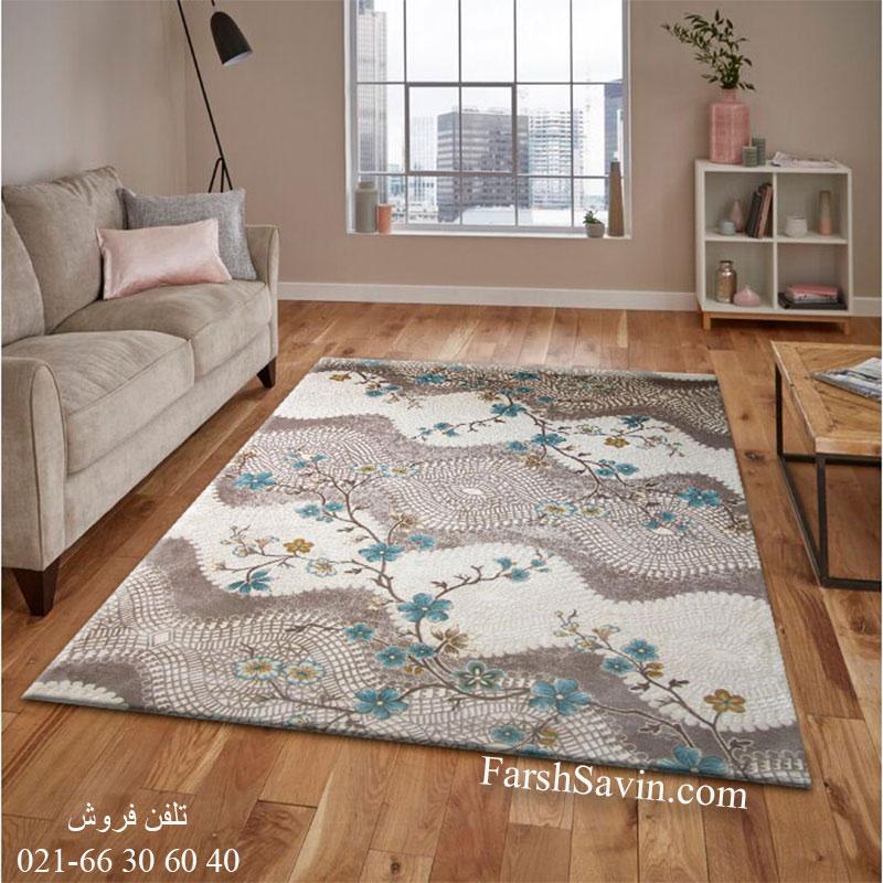 فرش ساوین 1503 آبی فرش اتاق خواب