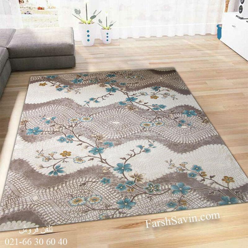 فرش ساوین 1503 آبی فرش باکیفیت