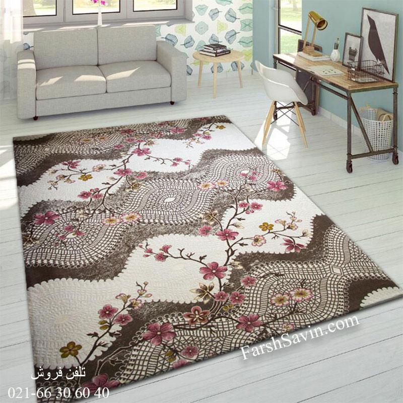 فرش ساوین 1503 صورتی فرش خاص