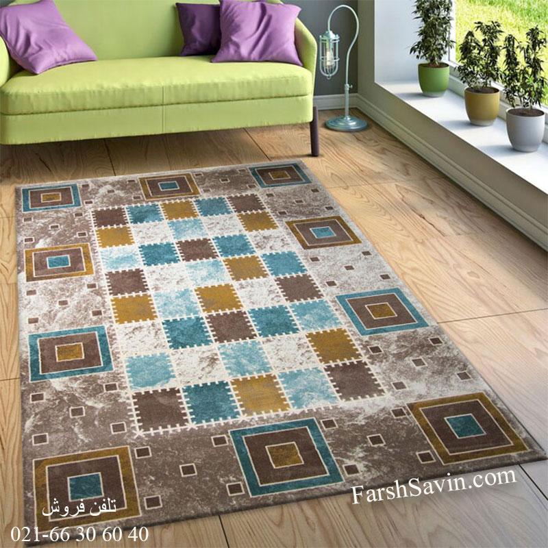 فرش ساوین 1504 آبی فرش فانتزی