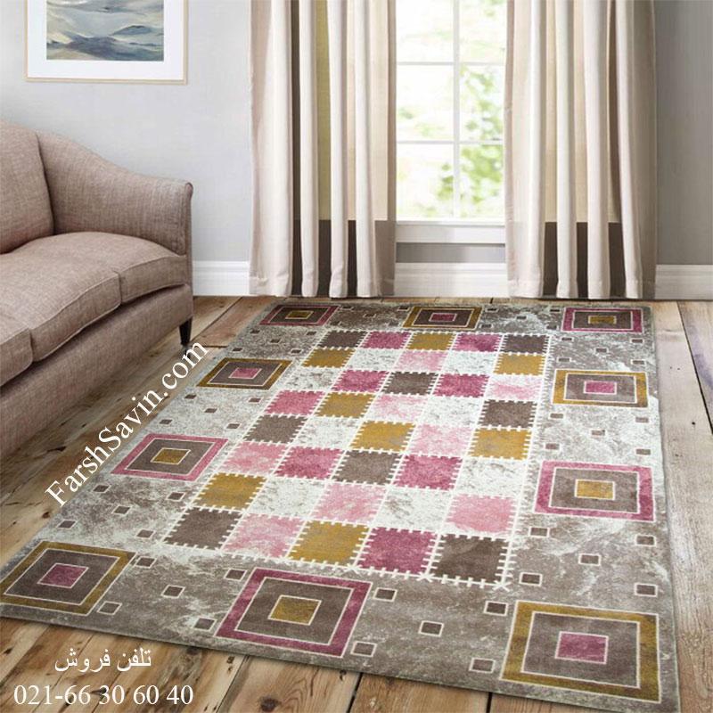فرش ساوین 1504 صورتی فرش پرفروش