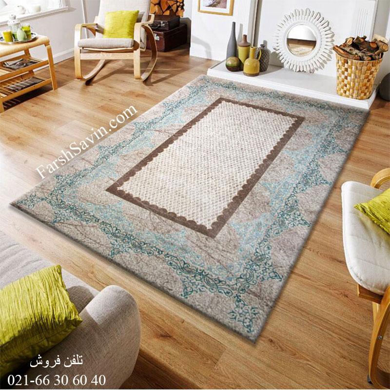 فرش ساوین 1505 آبی فرش اتاق خواب