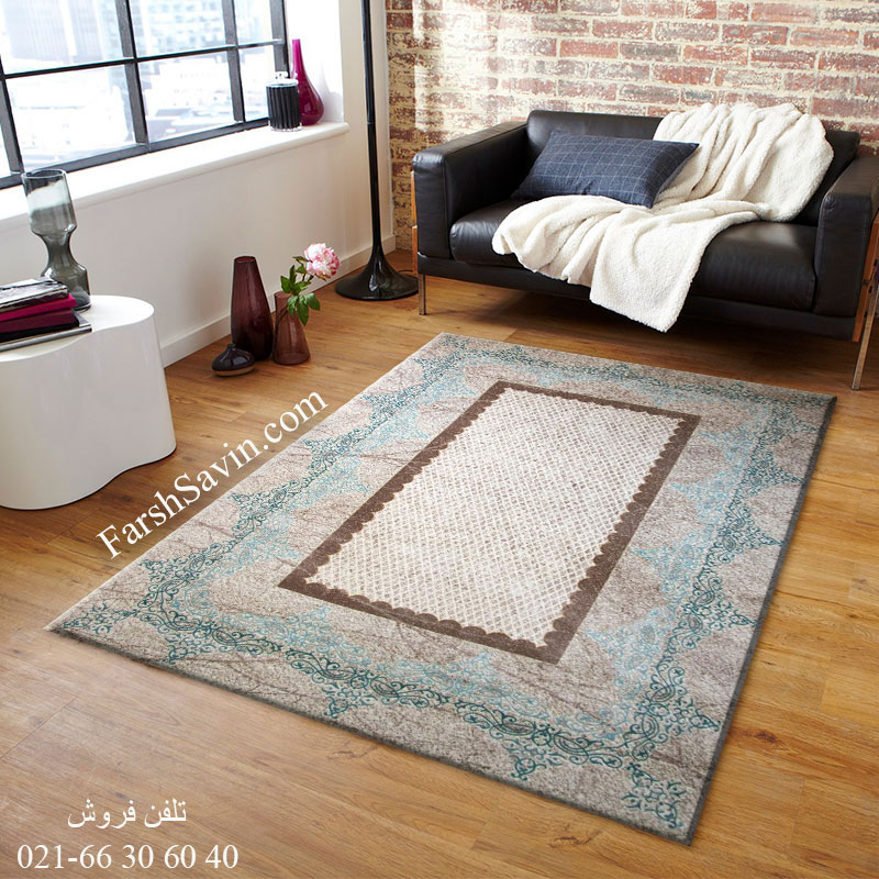 فرش ساوین 1505 آبی فرش آشپزخانه