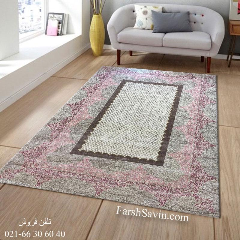 فرش ساوین 1505 صورتی فرش پرفروش