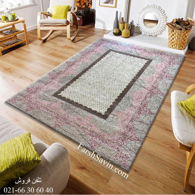 فرش ساوین 1505 صورتی فرش فانتزی