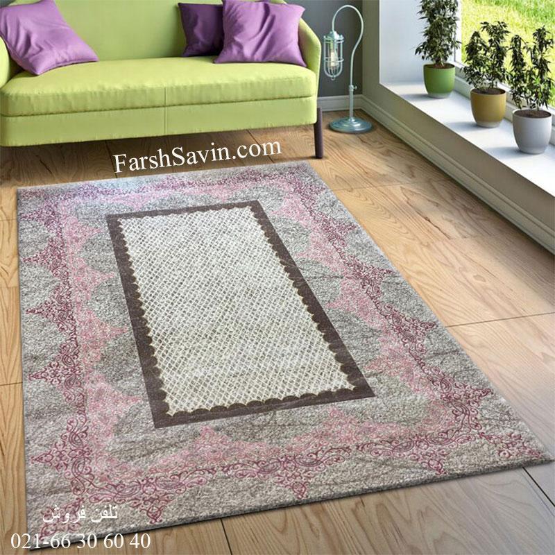 فرش ساوین 1505 صورتی فرش آشپزخانه