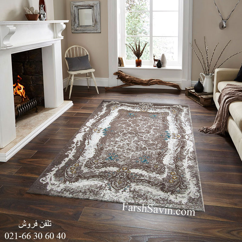فرش ساوین 1506 آبی فرش ارزان