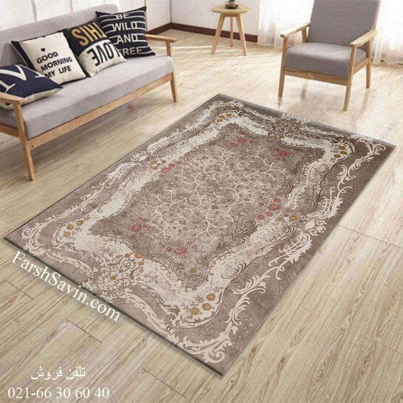 فرش ساوین 1506 صورتی فرش مدرن