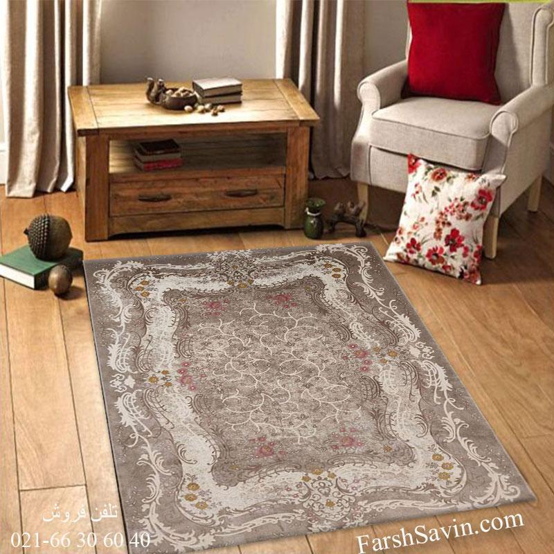 فرش ساوین 1506 صورتی فرش خاص