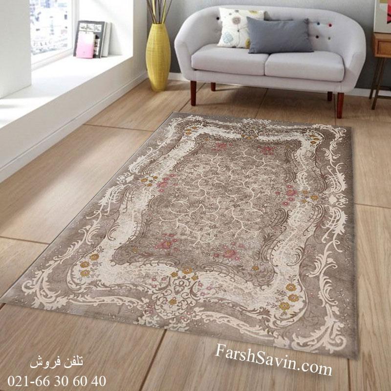 فرش ساوین 1506 صورتی فرش فانتزی