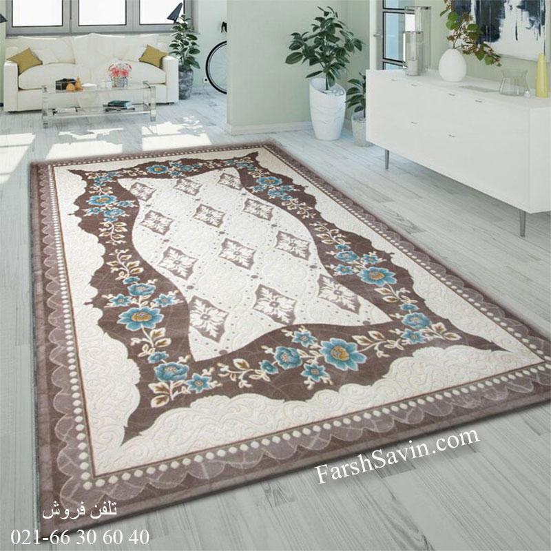 فرش ساوین 1507 آبی فرش زیبا