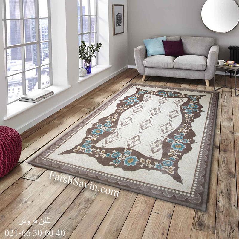 فرش ساوین 1507 آبی فرش فانتزی