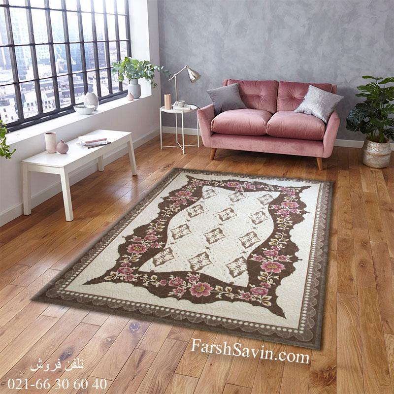 فرش ساوین 1507 صورتی فرش مدرن