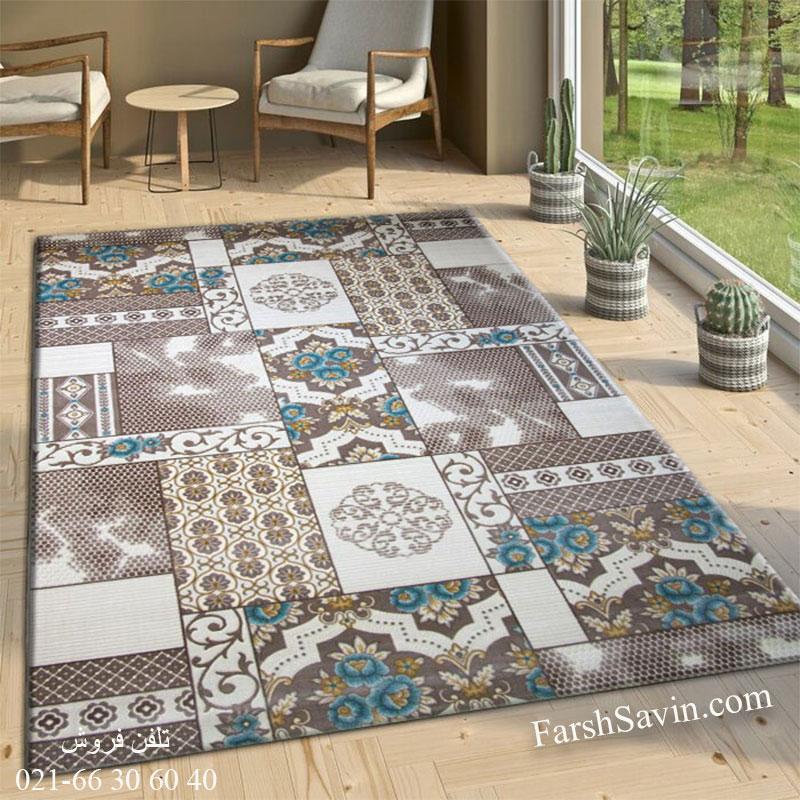 فرش ساوین 1508 آبی فرش ارزان