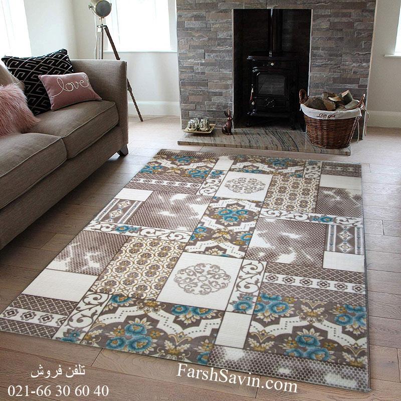 فرش ساوین 1508 آبی فرش آشپزخانه