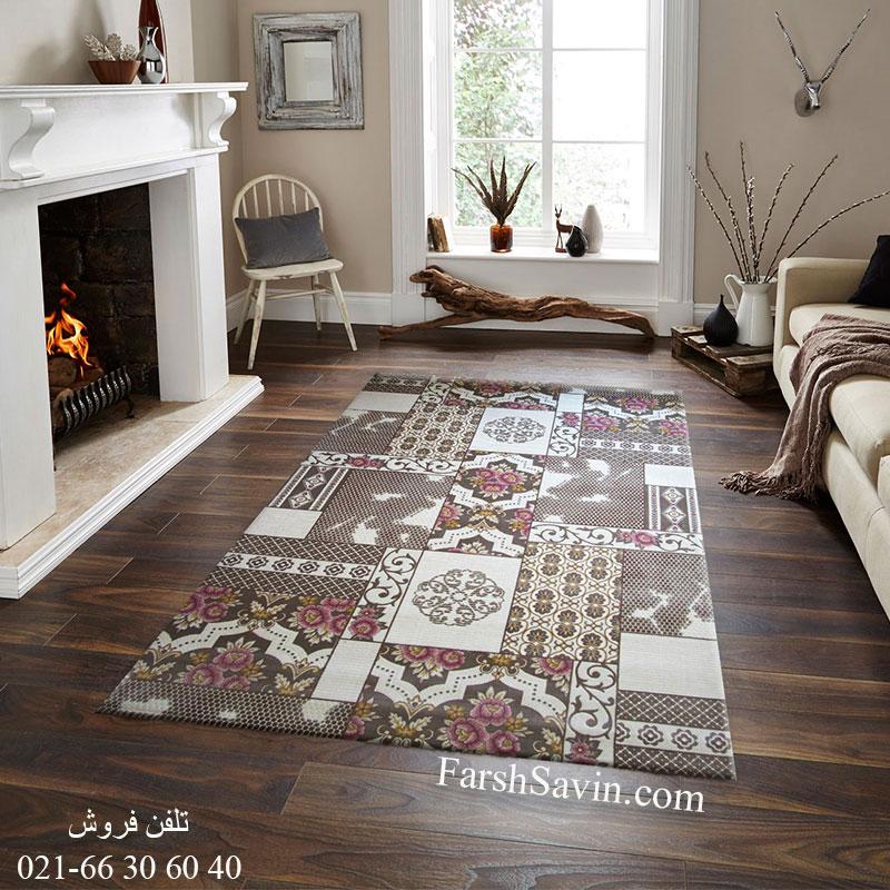 فرش ساوین 1508 صورتی فرش با دوام
