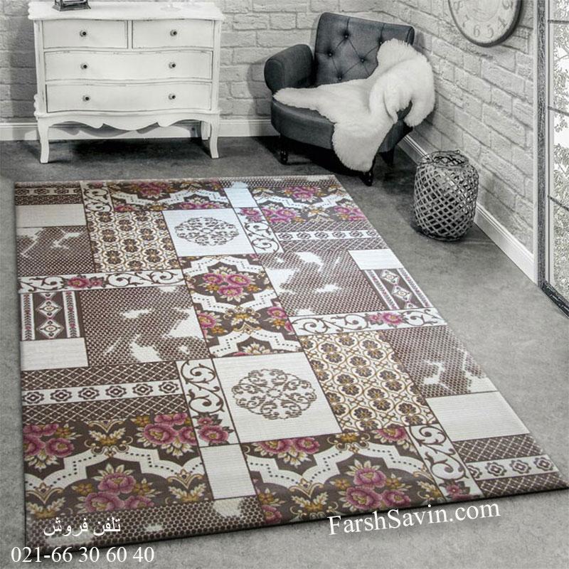 فرش ساوین 1508 صورتی فرش زیبا