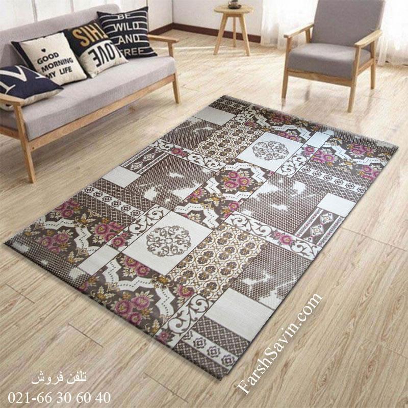 فرش ساوین 1508 صورتی فرش اتاق پذیرایی