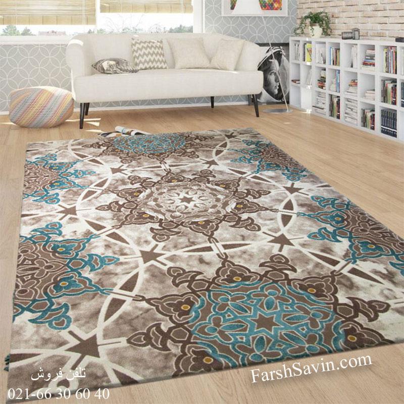 فرش ساوین 1509 آبی فرش شیک