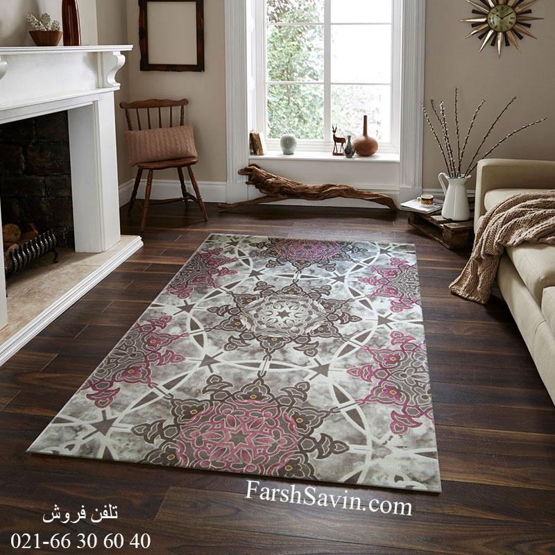 فرش ساوین 1509 صورتی فرش فانتزی