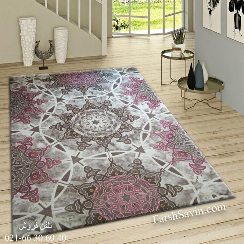 فرش ساوین 1509 صورتی فرش خاص
