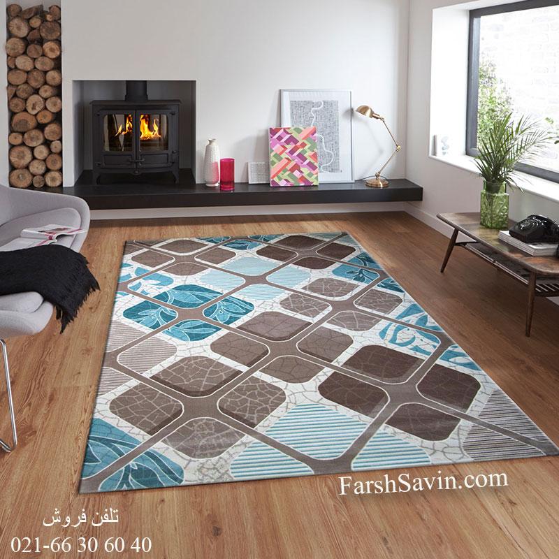 فرش ساوین 1510 آبی فرش مدرن